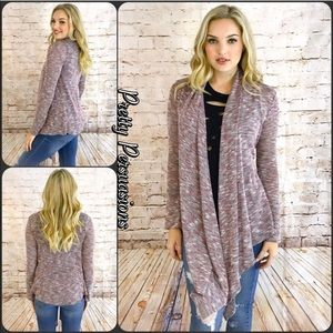 NWT Draped Marled Knit Berry Combo Spring Cardigan